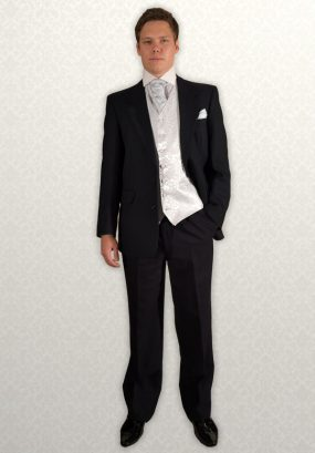 Black Herringbone Lounge Suit