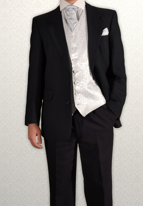 Black Herringbone Lounge Suit