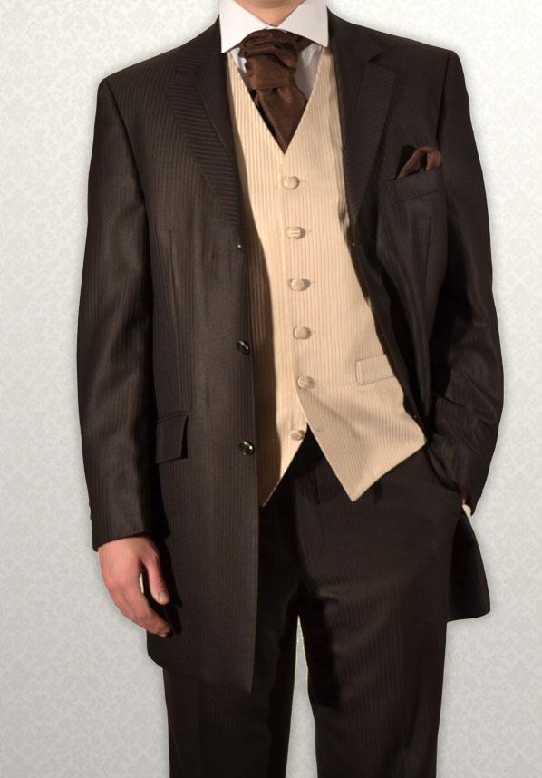 Brown Masterhand lightweight self-stripe Three-Quarter Prince Edward Frock Coat