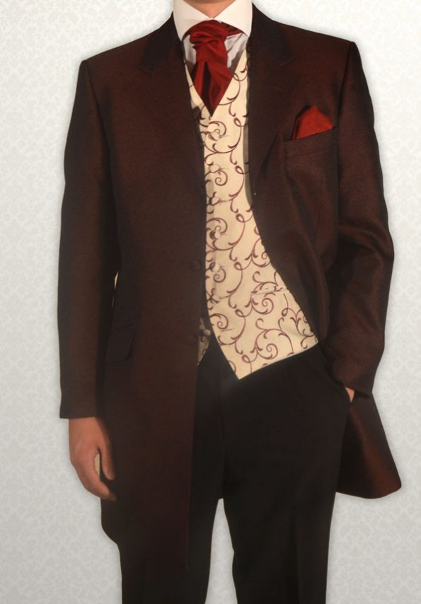 Burgundy Scroll 3/4 Length Jacket