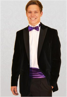 Black Velvet Single-Breasted 1 Button Notch Designer Dinner Suit