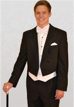 Black Evening Tails with white Marcella waistcoat, bow-tie and shirt.
