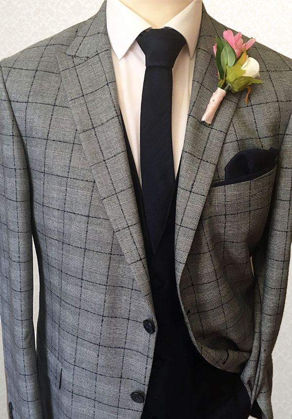 Check Grey Blue Lounge Suit